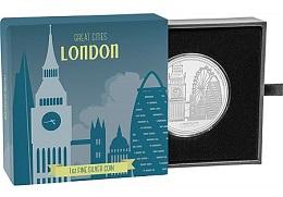 """Серебряная монета """"Великие города: Лондон"""" 1 унция"""