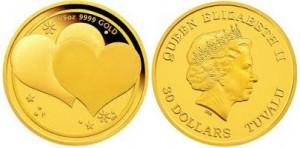 В Австралии вышла золотая монета для влюблённых пар